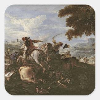 Cavaliers en la batalla (aceite en lona) pegatina cuadrada