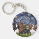 Cavaliers (four) - Starry Night Basic Round Button Keychain
