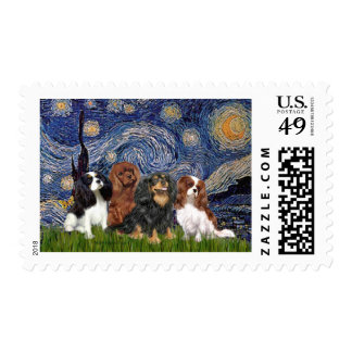 Cavaliers (four) - Starry Night Postage Stamps