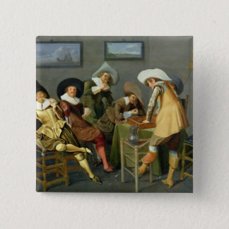 Cavaliers in a tavern button