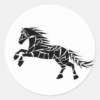 Cavallerone - black horse classic round sticker