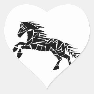 Cavallerone - black horse heart sticker