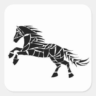 Cavallerone - black horse square sticker