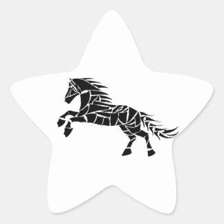 Cavallerone - black horse star sticker