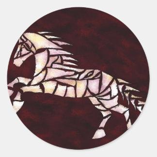Cavallerone - white horse classic round sticker