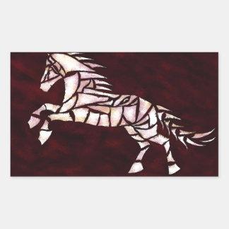 Cavallerone - white horse rectangular sticker