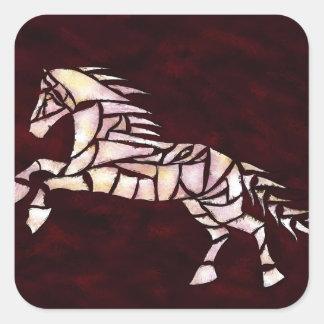 Cavallerone - white horse square sticker