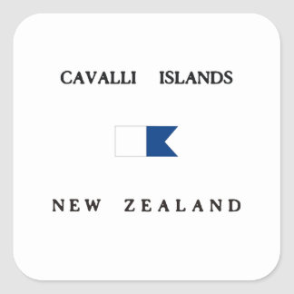 Cavalli Islands New Zealand Alpha Dive Flag Square Sticker
