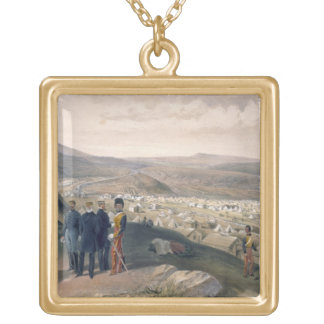 Cavalry Camp, plate from 'The Seat of War in the E Gold Plated Necklace