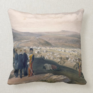 Cavalry Camp, plate from 'The Seat of War in the E Throw Pillow