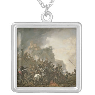 Cavalry Making a Sortie Silver Plated Necklace