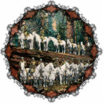 "Cavalry Troop on Redwood Tree Vintage Ornament<br><div class=""desc"">This is a great picture from 1912 of a complete Cavalry Troop standing on a fallen Redwood Tree to emphasize its size. Great for people who like military trivia or history. Reprinted here on this beautiful Christmas ornament with Victorian trim.</div>"