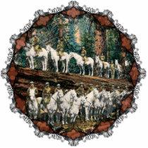 Cavalry Troop on Redwood Tree Vintage Ornament