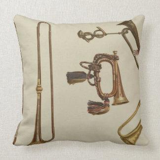 Cavalry trumpet, a bugle, a gilt trumpet made by J Throw Pillow