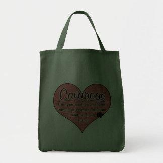Cavapoo Paw Prints Dog Humor Tote Bags