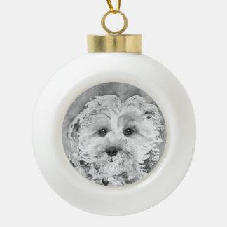 Cavapoo watercolour. ceramic ball christmas ornament