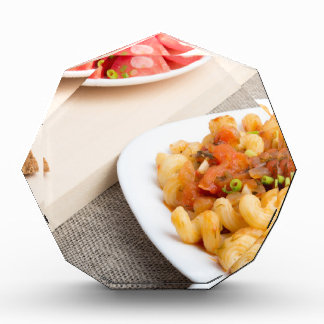 Cavatappi Pasta with sauce of stewed vegetables Acrylic Award
