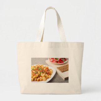 Cavatappi Pasta with sauce of stewed vegetables Large Tote Bag