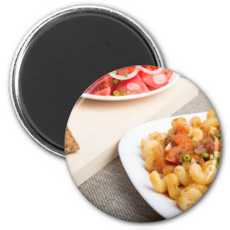 Cavatappi Pasta with sauce of stewed vegetables Magnet