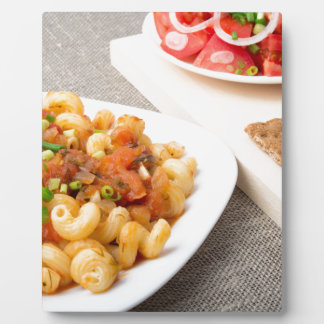 Cavatappi Pasta with sauce of stewed vegetables Plaque