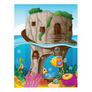 Cave and ocean postcard
