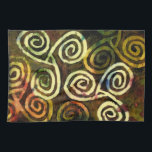 """Cave Art Tea Towel<br><div class=""""desc"""">This tea towel features an original watercolor based on Neolithic cave paintings in Ireland and other Celtic lands. Thirteen spirals (four triples) are joined by a Trinity Knot; all are forms of the ancient triskele.</div>"""