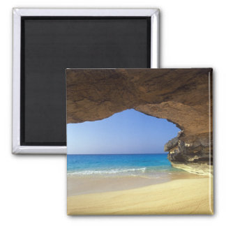 Cave at French Bay, San Salvador Island, 2 Inch Square Magnet