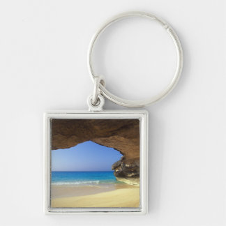 Cave at French Bay, San Salvador Island, Silver-Colored Square Keychain