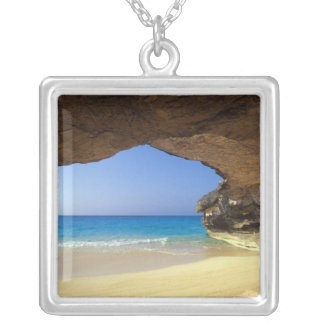 Cave at French Bay, San Salvador Island, Square Pendant Necklace