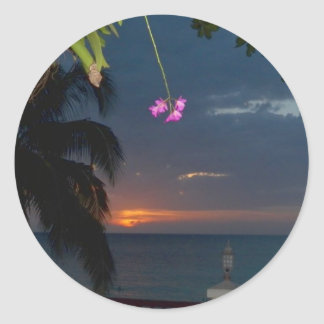 Cave Beach, Jamaica de la puesta del sol del Pegatina Redonda