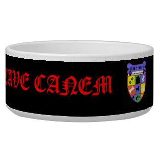 Cave canem -- beware of dog! dog water bowl