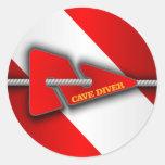 Cave Diver (Line Marker) Classic Round Sticker