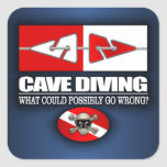 Cave Diving (Line Markers) Square Sticker