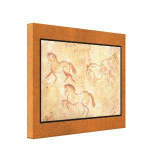 Cave Drawing Painting of Horses Canvas Print