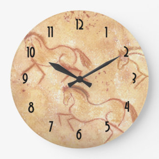 Cave Drawing Painting of Horses Large Clock