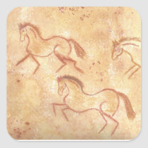 Cave Drawing Painting of Horses Square Sticker
