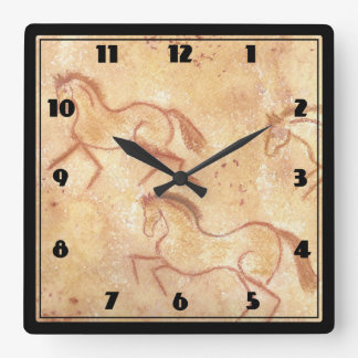 Cave Drawing Painting of Horses Square Wall Clock