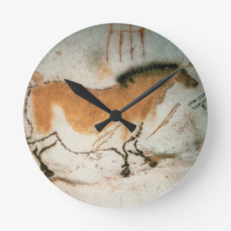Cave drawings Lascaux French Prehistoric Drawings Round Wall Clock