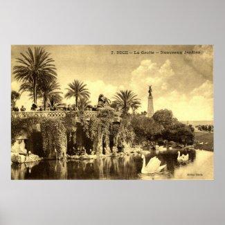 Cave Gardens, Nice France 1910 Vintage print