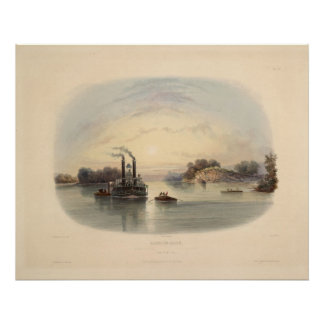 Cave-in-rock, view on the Ohio, Karl Bodmer Print
