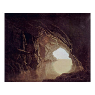 cave in the evening by Joseph Wright Posters