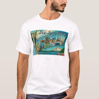 Cave Junction, Oregon - Large Letter Scenes T-Shirt