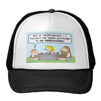 Cave kid won't eat vegetables. trucker hat