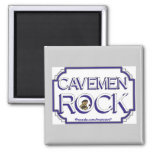 Cave Men Rock BW 2 Inch Square Magnet