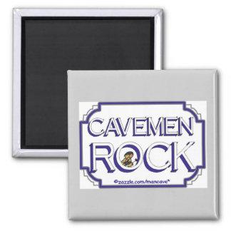 Cave Men Rock BW 2 Inch Square Magnet