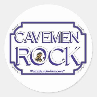 Cave Men Rock BW Classic Round Sticker