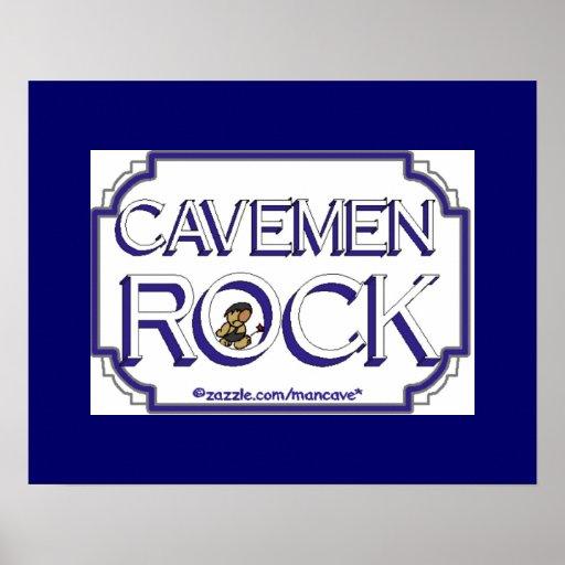 Cave Men Rock BW Print