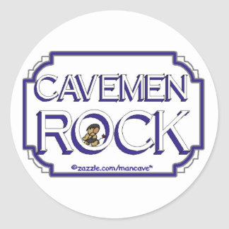 Cave Men Rock BW Stickers