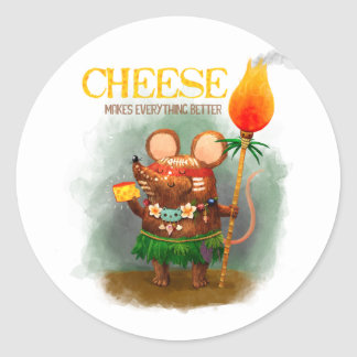 Cave Mouse loves Cheese Classic Round Sticker