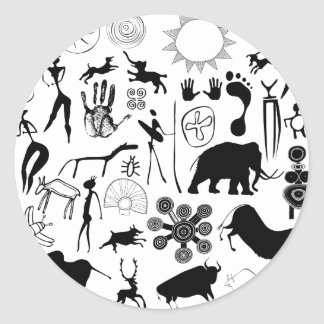 cave paintings - primitive art classic round sticker